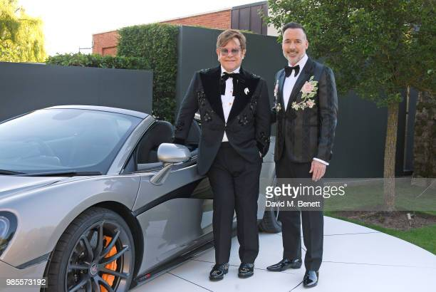 Sir Elton John and David Furnish attend the Argento Ball for the Elton John AIDS Foundation in association with BVLGARI Bob and Tamar Manoukian on...