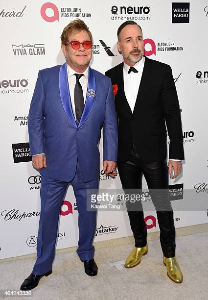 Sir Elton John and David Furnish attend the Elton John AIDS Foundation's 23rd annual Academy Awards Viewing Party at The City of West Hollywood Park...