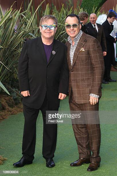 Sir Elton John and David Furnish attends the UK premiere of 'Gnomeo Juliet' at Odeon Leicester Square on January 30 2011 in London England