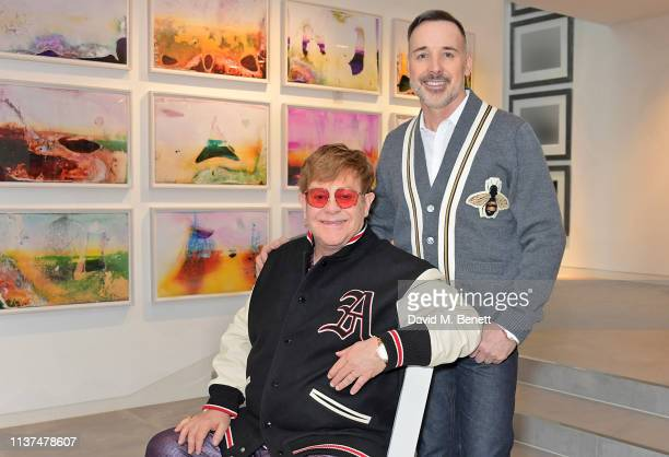 Sir Elton John and David Furnish pictured at home in their art gallery on April 16 2019 in Windsor England Today the VA announces a new longterm...
