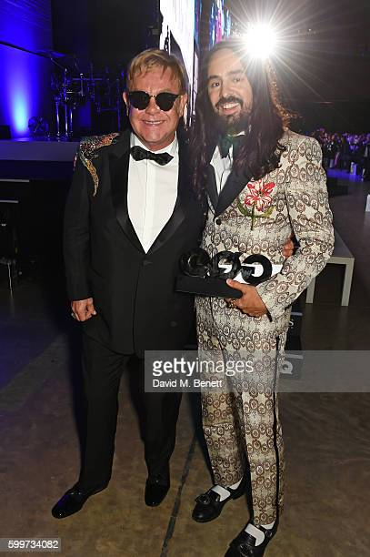 Sir Elton John and Designer of the Year Alessandro Michele attend the GQ Men Of The Year Awards 2016 at the Tate Modern on September 6 2016 in London...
