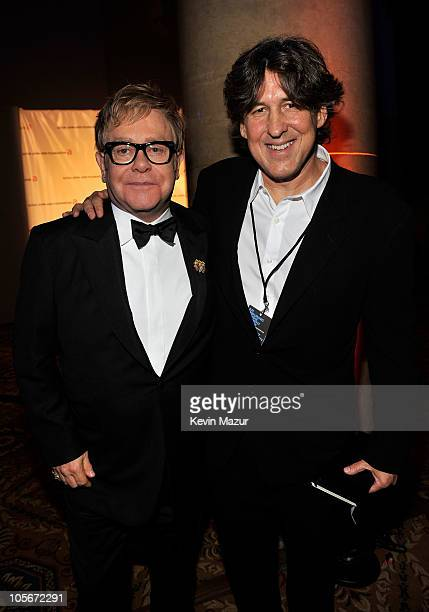 Sir Elton John and director Cameron Crowe attend the 9th Annual Elton John AIDS Foundation's An Enduring Vision benefit at Cipriani Wall Street on...