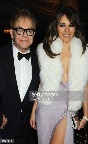 Sir Elton John and Elizabeth Hurley attend the Grey Goose Character Cocktails Winter Fundraiser Ball in aid of the Elton John AIDS Foundation at the...