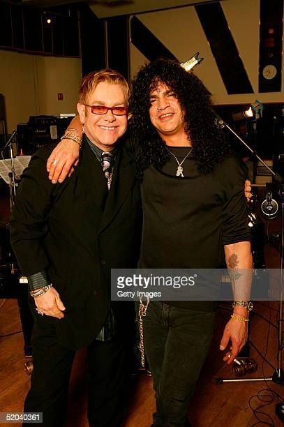 Sir Elton John and guitarist Slash of Velvet Revolver record the charity cover of Eric Clapton's Tears In Heaven Tsunami Relief Single at Whitfield...