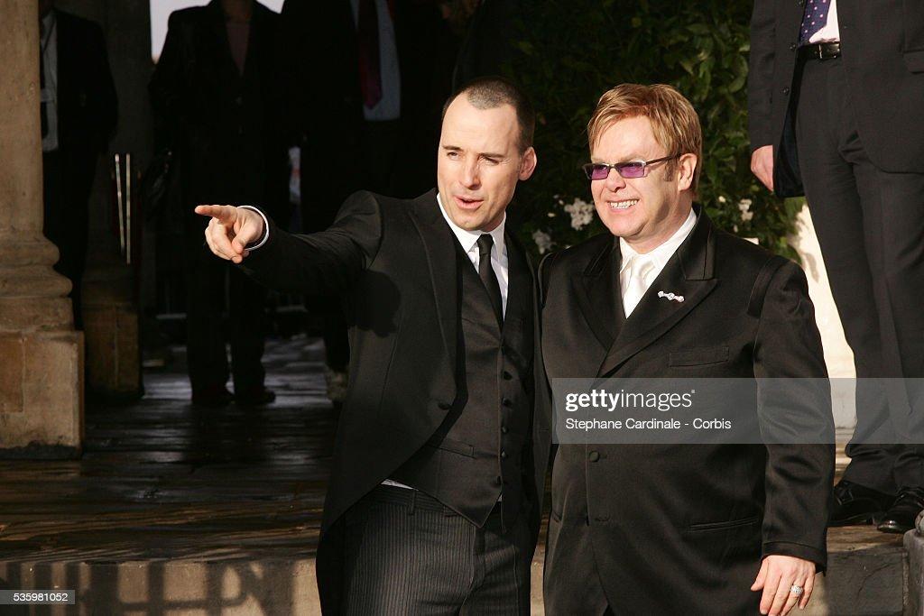 Sir Elton John and his husband David Furnish at Windsor Guidhall.