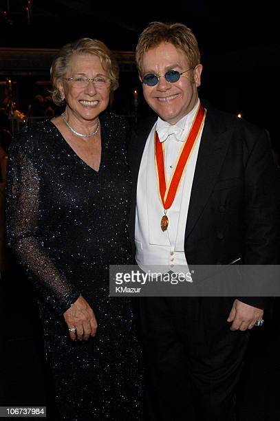 Sir Elton John and his mother Sheila Farebrother during The Fifth Annual White Tie Tiara Ball to Benefit the Elton John Aids Foundation in...