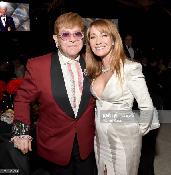 Sir Elton John and Jane Seymour attend the 26th annual Elton John AIDS Foundation Academy Awards Viewing Party sponsored by Bulgari celebrating EJAF...