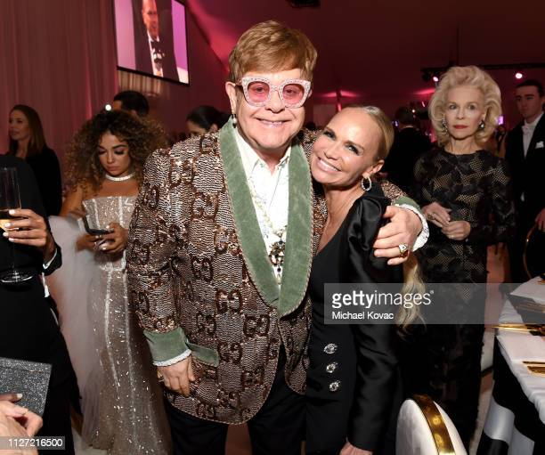 Sir Elton John and Kristin Chenoweth attend the 27th annual Elton John AIDS Foundation Academy Awards Viewing Party sponsored by IMDb and Neuro...