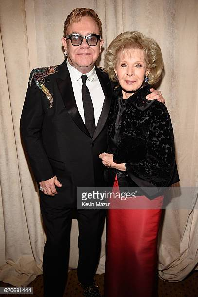 Sir Elton John and Lily Safra attend the 15th Annual Elton John AIDS Foundation An Enduring Vision Benefit at Cipriani Wall Street on November 2 2016...