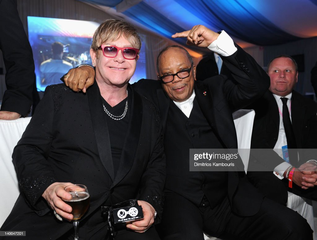 Sir Elton John and musician Quincy Jones attend the 20th Annual Elton John AIDS Foundation Academy Awards Viewing Party at The City of West Hollywood Park on February 26, 2012 in Beverly Hills, California.