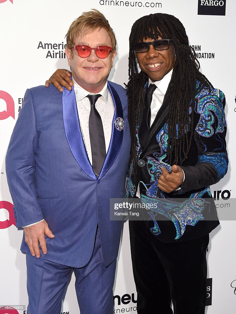 Sir Elton John and Nile Rodgers attends the Elton John AIDS Foundation's 23rd annual Academy Awards Viewing Party at The City of West Hollywood Park on February 22, 2015 in West Hollywood, California.
