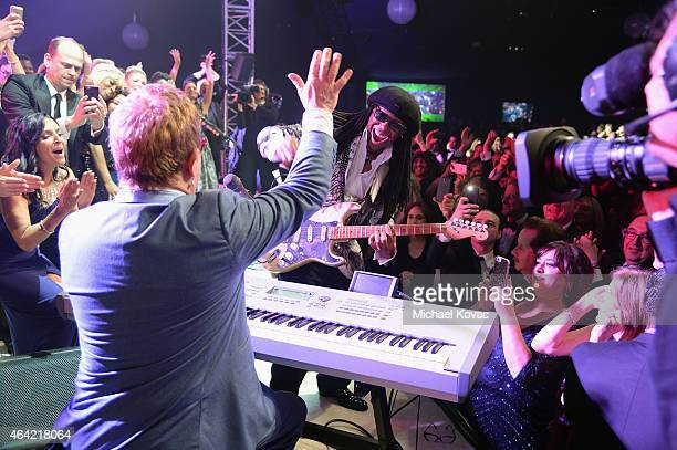Sir Elton John and Nile Rodgers perform at the 23rd Annual Elton John AIDS Foundation Academy Awards Viewing Party on February 22 2015 in Los Angeles...