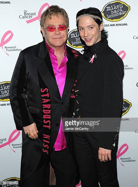 Sir Elton John and Olympic figure skater Johnny Weir attend the 2010 Breast Cancer Research Foundation's Hot Pink Party at The Waldorf=Astoria on...