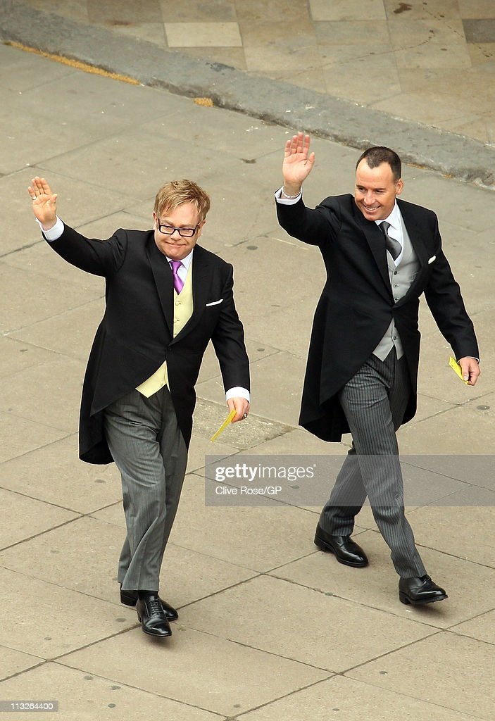 Sir Elton John (left) and partner David Furnish arrive at Westminster Abbey for the Royal Wedding of Prince William to Catherine Middleton at Westminster Abbey on April 29, 2011 in London, England. The marriage of the second in line to the British throne was led by the Archbishop of Canterbury and was attended by 1900 guests, including foreign Royal family members and heads of state. Thousands of well-wishers from around the world have also flocked to London to witness the spectacle and pageantry of the Royal Wedding.