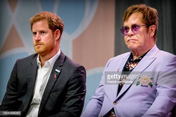 Sir Elton John and Prince Harry Duke of Sussex attend the 2018 International AIDS Conference on July 24 2018 in Amsterdam Netherlands