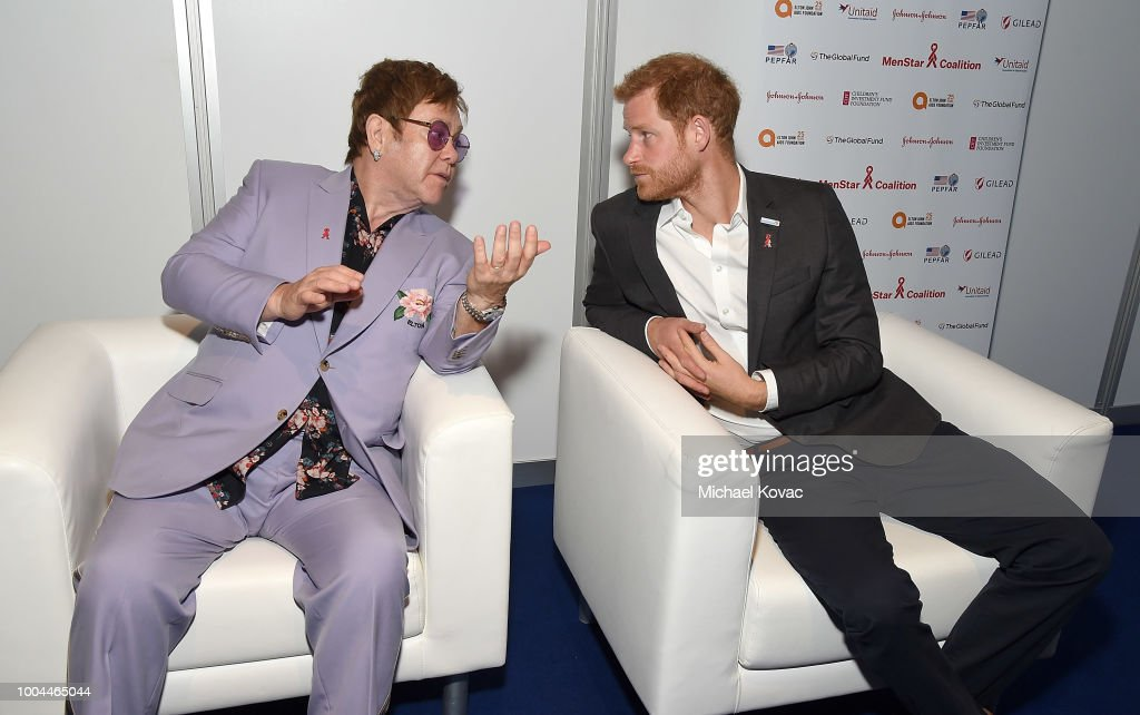 Sir Elton John and Prince Harry, Duke of Sussex attend the Launch of the Menstar Coalition To Promote HIV Testing & Treatment of Men on July 24, 2018 in Amsterdam, Netherlands.