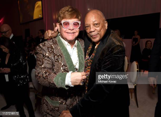 Sir Elton John and Quincy Jones attend the 27th annual Elton John AIDS Foundation Academy Awards Viewing Party sponsored by IMDb and Neuro Drinks...