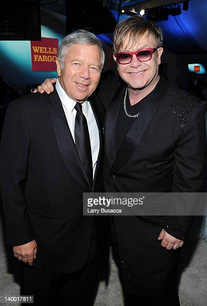 Sir Elton John and Robert Kraft attend the 20th Annual Elton John AIDS Foundation Academy Awards Viewing Party at The City of West Hollywood Park on...