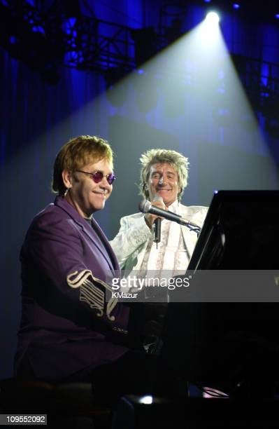 Sir Elton John and Rod Stewart during The Andre Agassi Charitable Foundation's 7th Grand Slam for Children Fundraiser Show at The MGM Grand Hotel and...