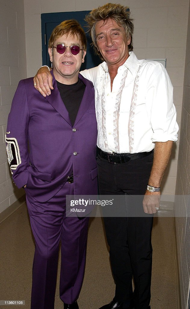 Sir Elton John and Rod Stewart during The Andre Agassi Charitable Foundation's 7th 'Grand Slam for Children' Fundraiser - Backstage and Audience at The MGM Grand Hotel and Casino in Las Vegas, Nevada, United States.