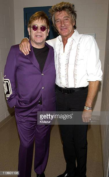 Sir Elton John and Rod Stewart during The Andre Agassi Charitable Foundation's 7th Grand Slam for Children Fundraiser Backstage and Audience at The...