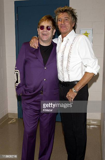 """Sir Elton John and Rod Stewart during The Andre Agassi Charitable Foundation's 7th """"Grand Slam for Children"""" Fundraiser - Backstage and Audience at..."""