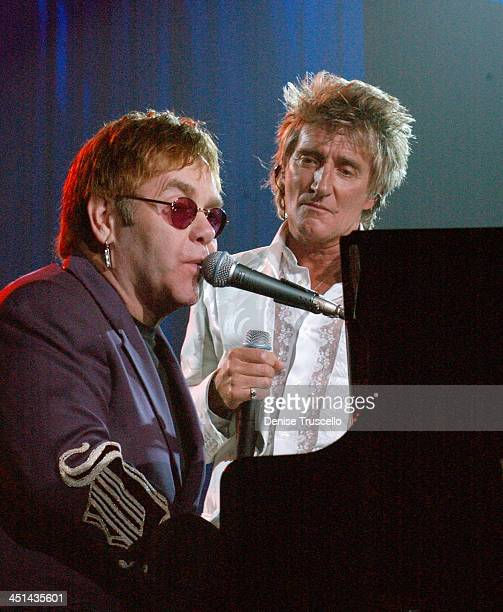 Sir Elton John and Rod Stewart during The Andre Agassi Charitable Foundation's 7th Grand Slam for Children Fundraiser - Show at The MGM Grand Hotel...