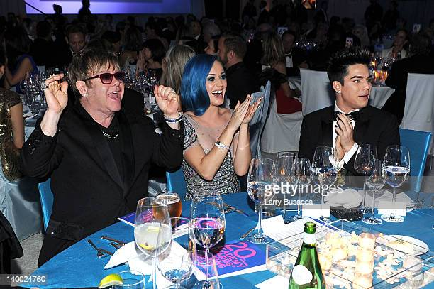 Sir Elton John and singers Katy Perry and Adam Lambert attend the 20th Annual Elton John AIDS Foundation Academy Awards Viewing Party at The City of...