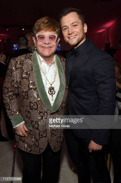 Sir Elton John and Taron Egerton attend the 27th annual Elton John AIDS Foundation Academy Awards Viewing Party sponsored by IMDb and Neuro Drinks...