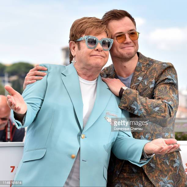 Sir Elton John and Taron Egerton attend the photocall for Rocketman during the 72nd annual Cannes Film Festival on May 16 2019 in Cannes France