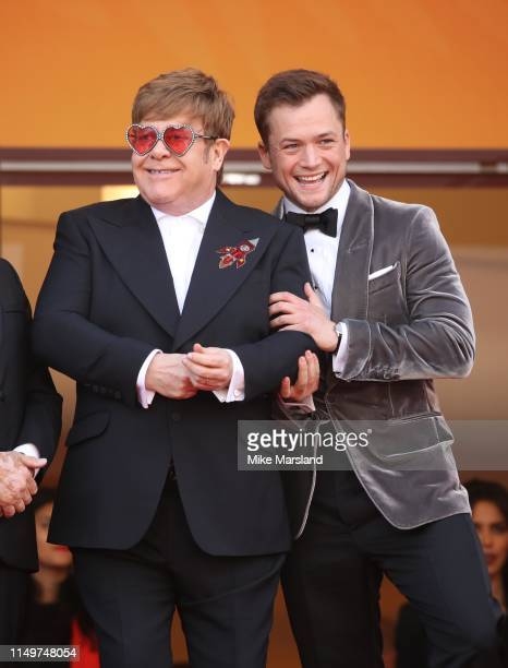 "Sir Elton John and Taron Egerton attends the screening of ""Rocketman"" during the 72nd annual Cannes Film Festival on May 16, 2019 in Cannes, France."