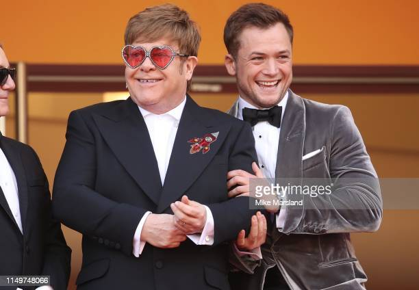 Sir Elton John and Taron Egerton attends the screening of Rocketman during the 72nd annual Cannes Film Festival on May 16 2019 in Cannes France