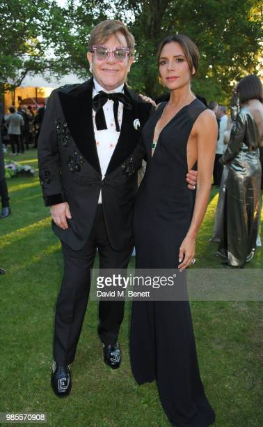 Sir Elton John and Victoria Beckham attend the Argento Ball for the Elton John AIDS Foundation in association with BVLGARI Bob and Tamar Manoukian on...
