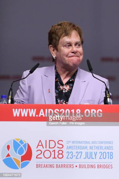 Sir Elton John at the launch of a new coalition of global Aids funders ETH the MenStar Coalition during the Aids 2018 summit in Amsterdam the...
