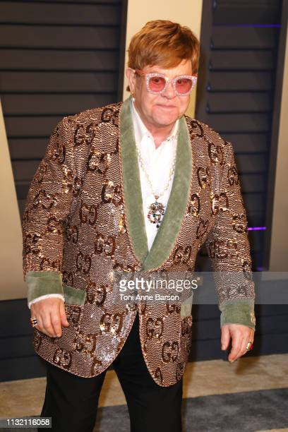 Sir Elton John attends the 2019 Vanity Fair Oscar Party hosted by Radhika Jones at Wallis Annenberg Center for the Performing Arts on February 24...