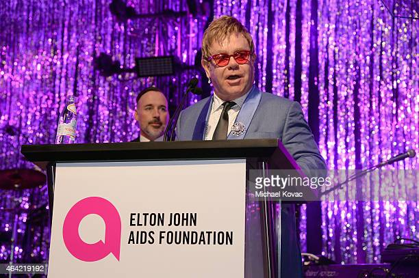 Sir Elton John attends the 23rd Annual Elton John AIDS Foundation Academy Awards Viewing Party on February 22 2015 in Los Angeles California
