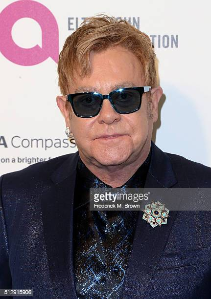 Sir Elton John attends the 24th Annual Elton John AIDS Foundation's Oscar Viewing Party on February 28 2016 in West Hollywood California