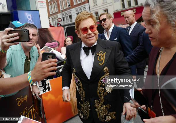 """Sir Elton John attends the European Premiere of Disney's """"The Lion King"""" at Odeon Luxe Leicester Square on July 14, 2019 in London, England."""