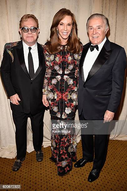 Sir Elton John Caroline Kimmel and Sydney Kimmel attend 15th Annual Elton John AIDS Foundation An Enduring Vision Benefit at Cipriani Wall Street on...