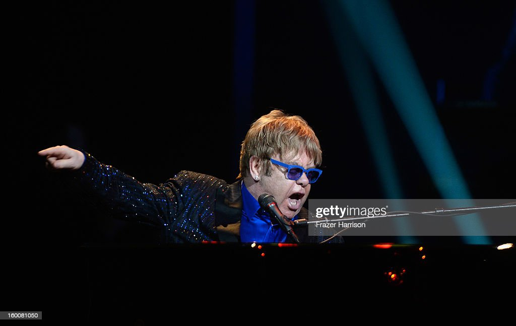Sir Elton John celebrating Yamaha's 125th Anniversary Live Around the World Dealer Concert performs at the Hyperion Theater on January 25, 2013 in Anaheim, California.