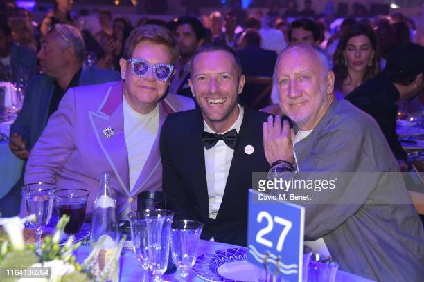 "Sir Elton John, Chris Martin and Pete Townshend attend the first ""Midsummer Party"" hosted by Elton John and David Furnish to raise funds for the..."