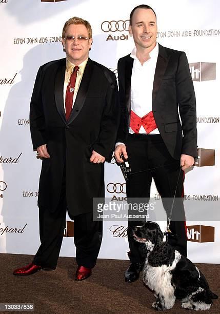 Sir Elton John David Furnish and Arthur their English Cocker Spaniel