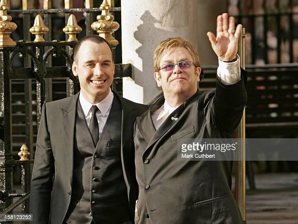 Sir Elton John David Furnish Civil Partnership Ceremony At The Guildhall In Windsor Berkshire