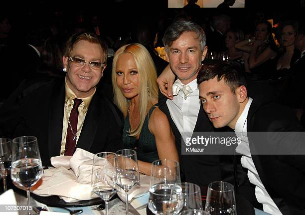 Sir Elton John Donatella Versace and Hedi Slimane *EXCLUSIVE*