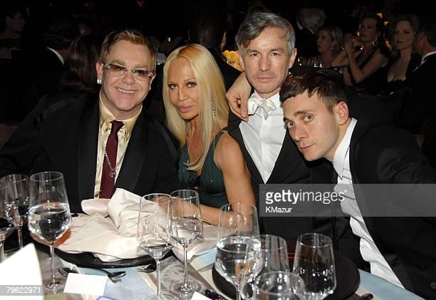 Sir Elton John Donatella Versace and Hedi Slimane *EXCLUSIVE*