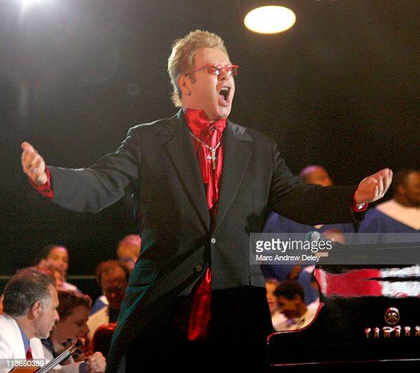 Sir Elton John during NFL Opening Kickoff 2004 – Pregame Show at Gillette Stadium in Foxboro, Massachusetts, United States.