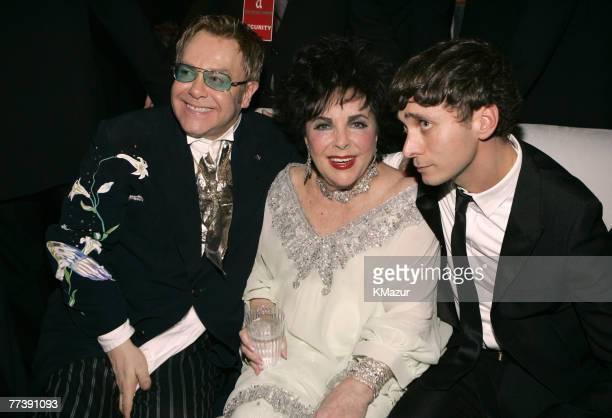 Sir Elton John Elizabeth Taylor and Hedi Slimane