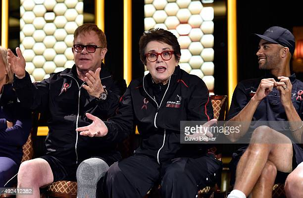 Sir Elton John former tennis players Billie Jean King and tennis player James Blake attend the live auction during the VIP reception at theÊMylan...
