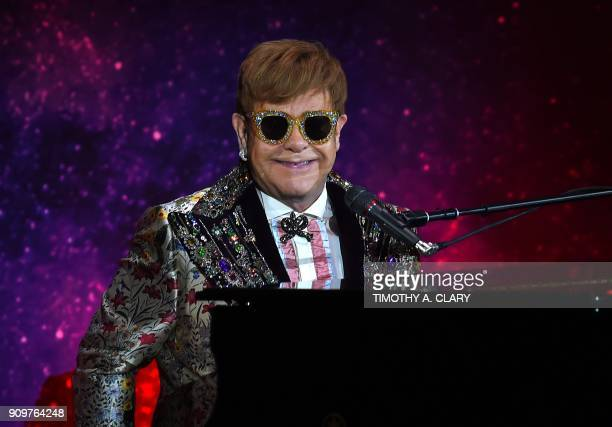Sir Elton John has a performance of two songs before holding a press conference in New York January 24 2018 Pop legend Elton John on Wednesday...
