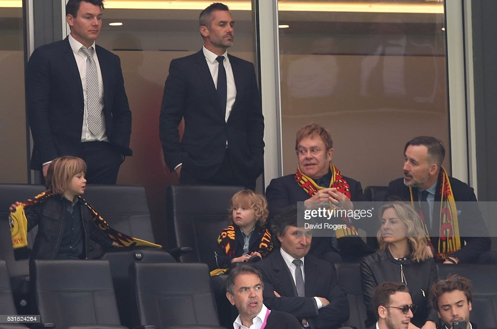 Sir Elton John is seen on the stand prior to the Barclays Premier League match between Watford and Sunderland at Vicarage Road on May 15, 2016 in Watford, England.